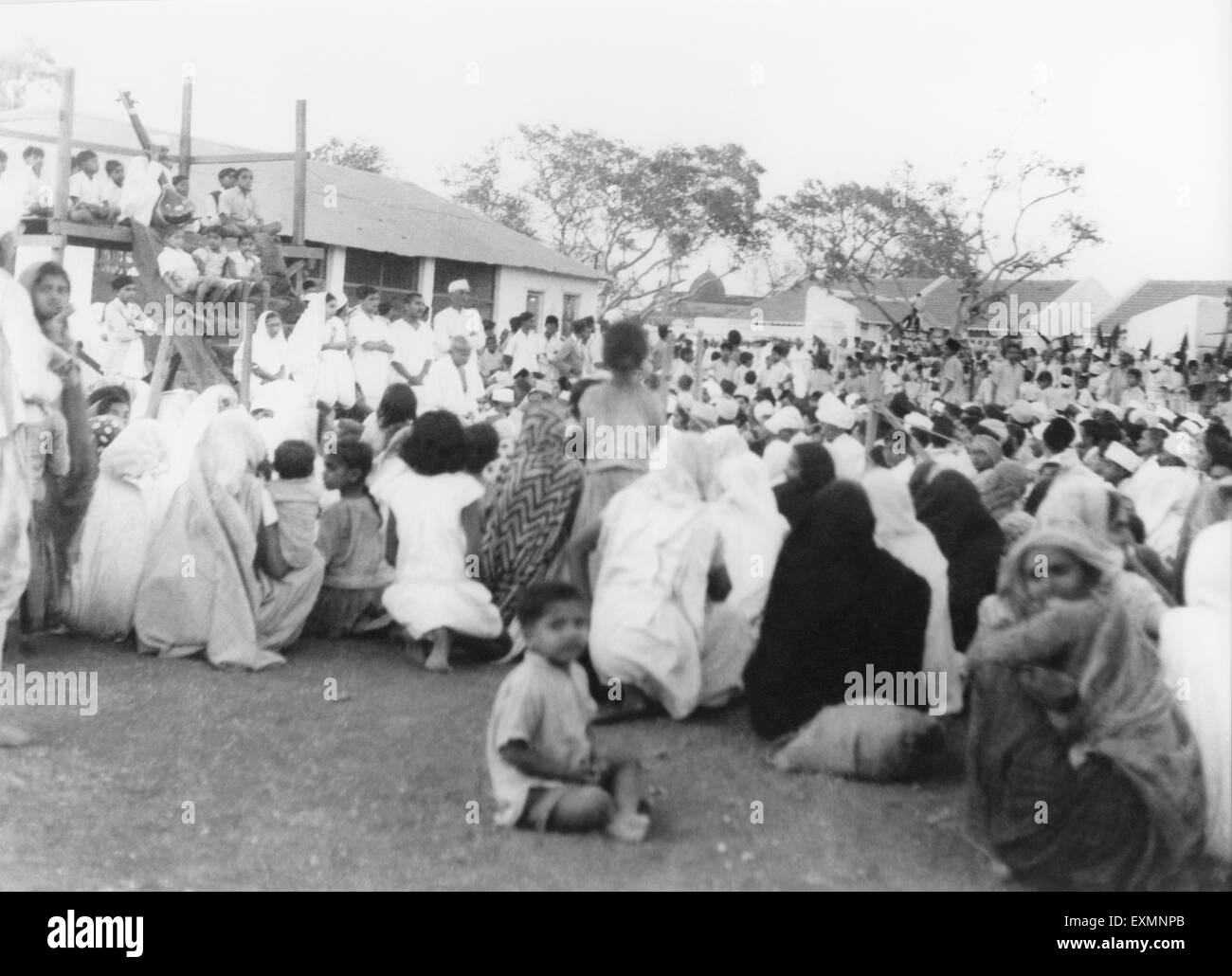 Mahatma Gandhi at a prayer meeting during Mahatma Gandhi's ...