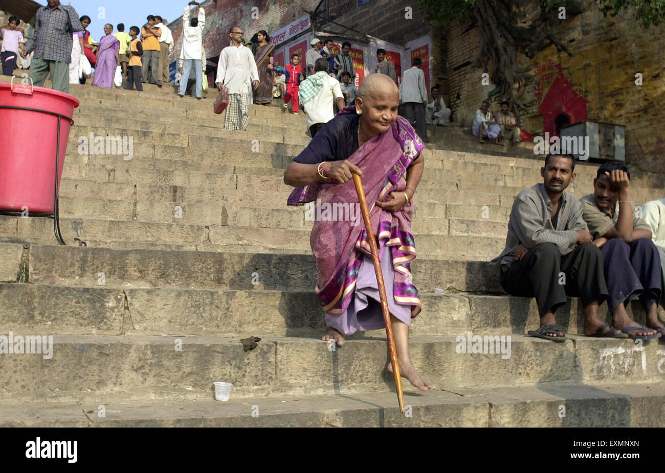 Old Woman Walking Stick Climbing Down Stairs Varanasi