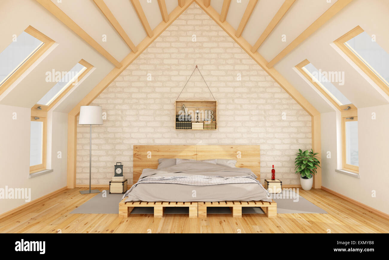 Bedroom in the attic with pallet bed and wooden crate on for Wooden attic box bed