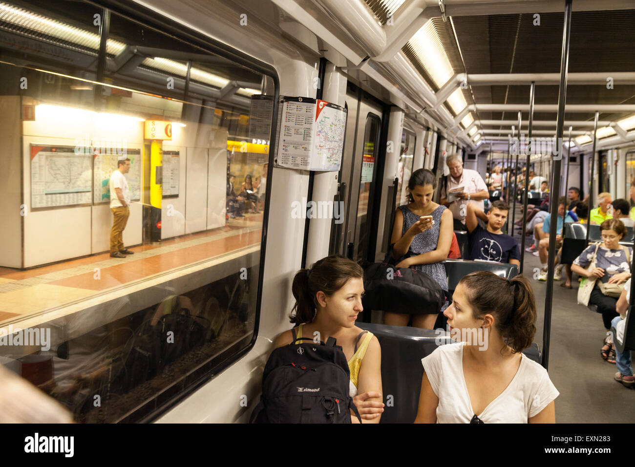 People in a train carriage barcelona metro barcelona spain europe stock photo royalty free - Carrage metro ...