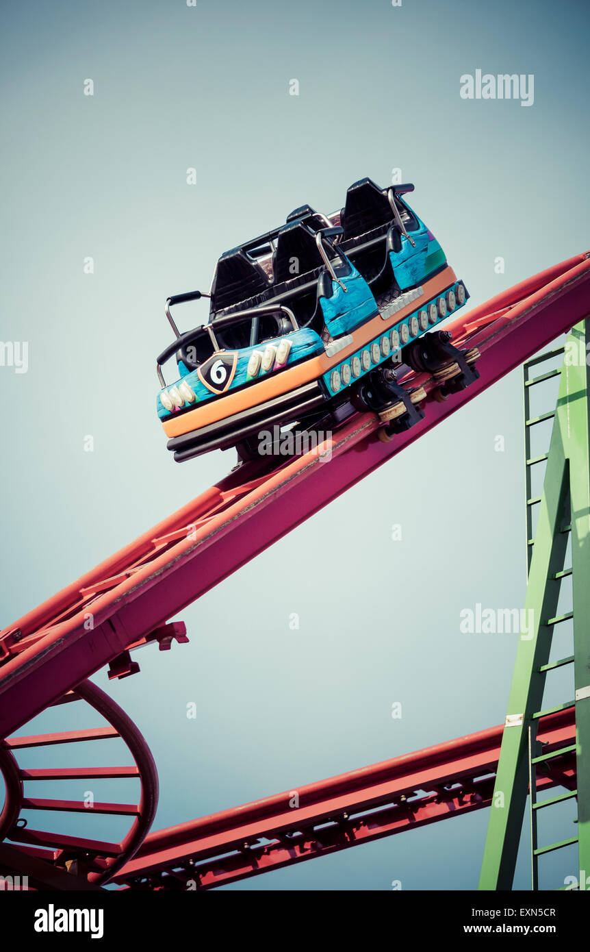 Germany, Hamburg, Rollercoaster, empty waggon Stock Photo ...