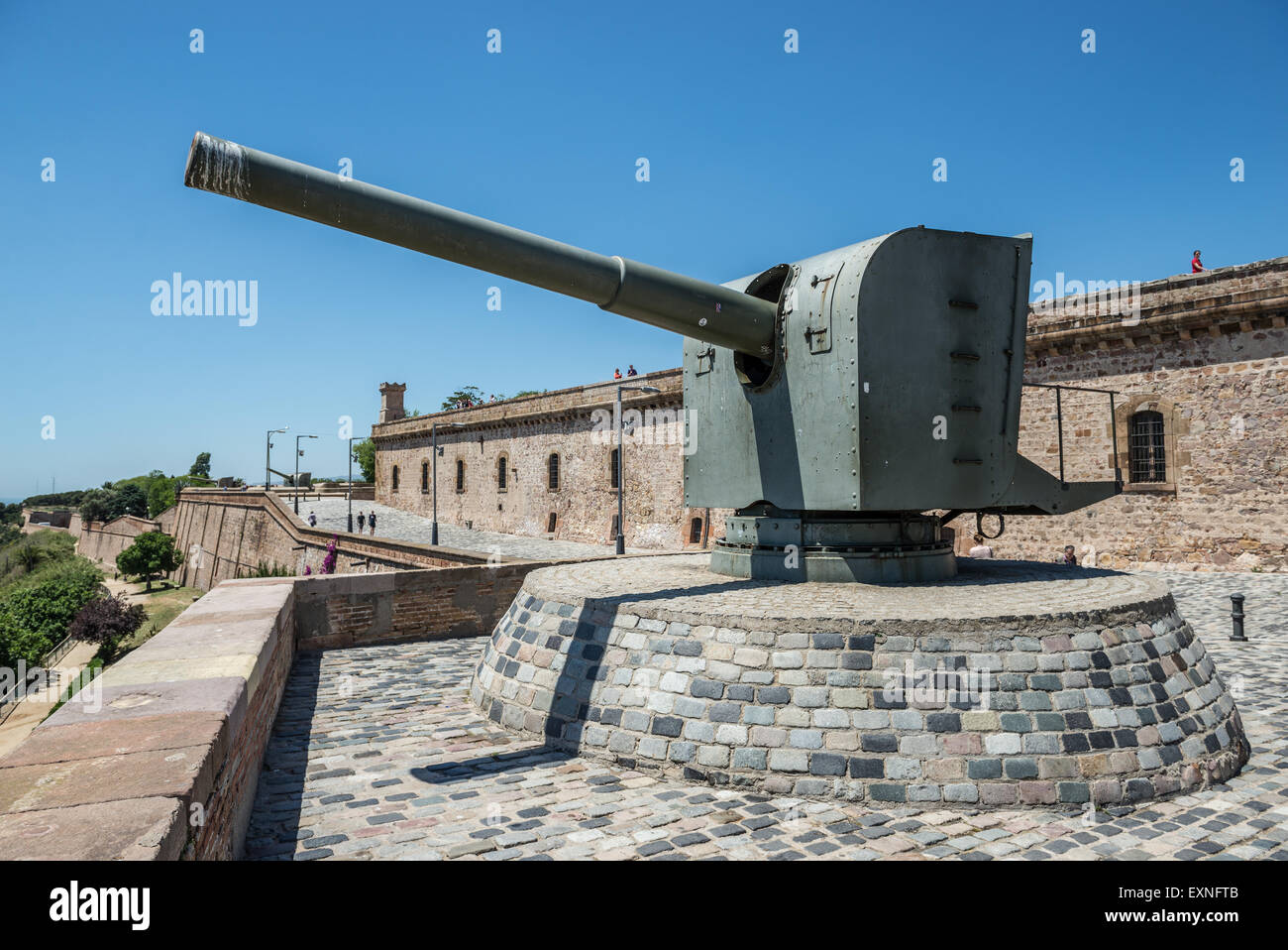 ... Old Cannon In Montjuic Castle (Castillo De Montjuich) Old Military  Fortress On Jewish Mountain