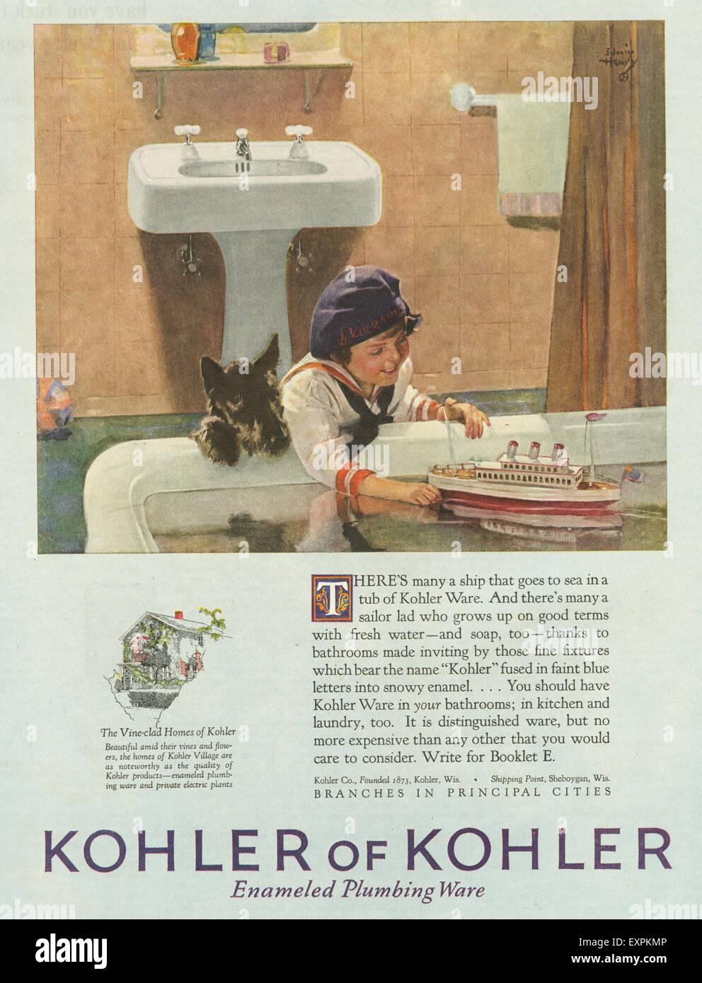 1920s USA Kohler Bathrooms Magazine Advert Stock Photo: 85320950 ...