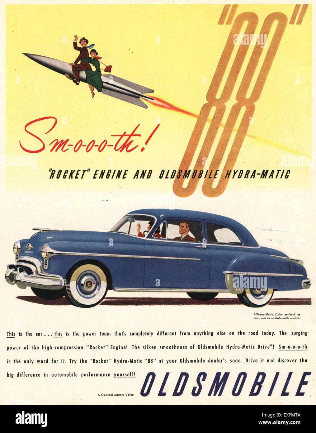 1950s usa oldsmobile general motors magazine advert stock for General motors stock history