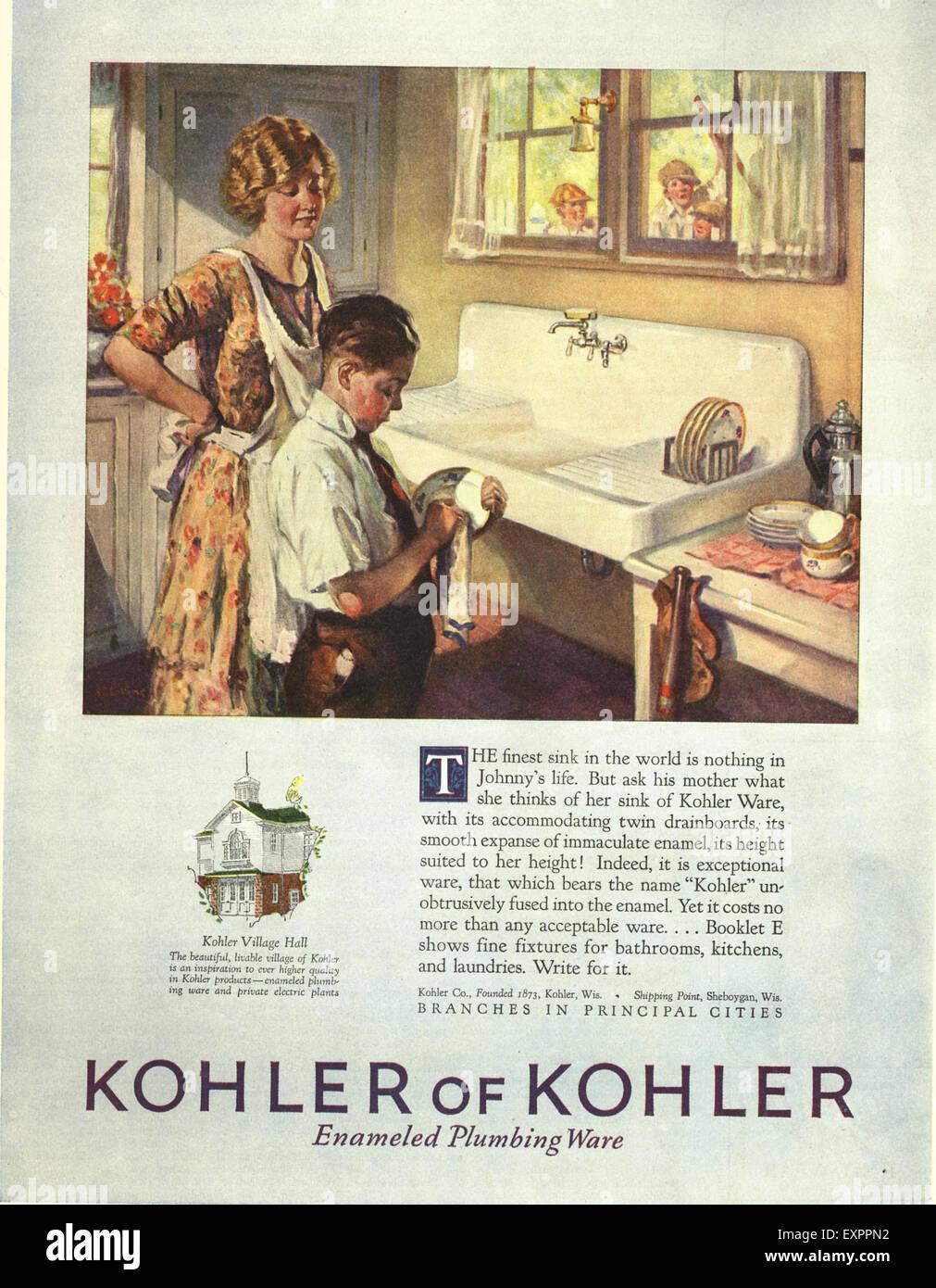 1920s USA Kohler of Kohler Magazine Advert Stock Photo, Royalty ...