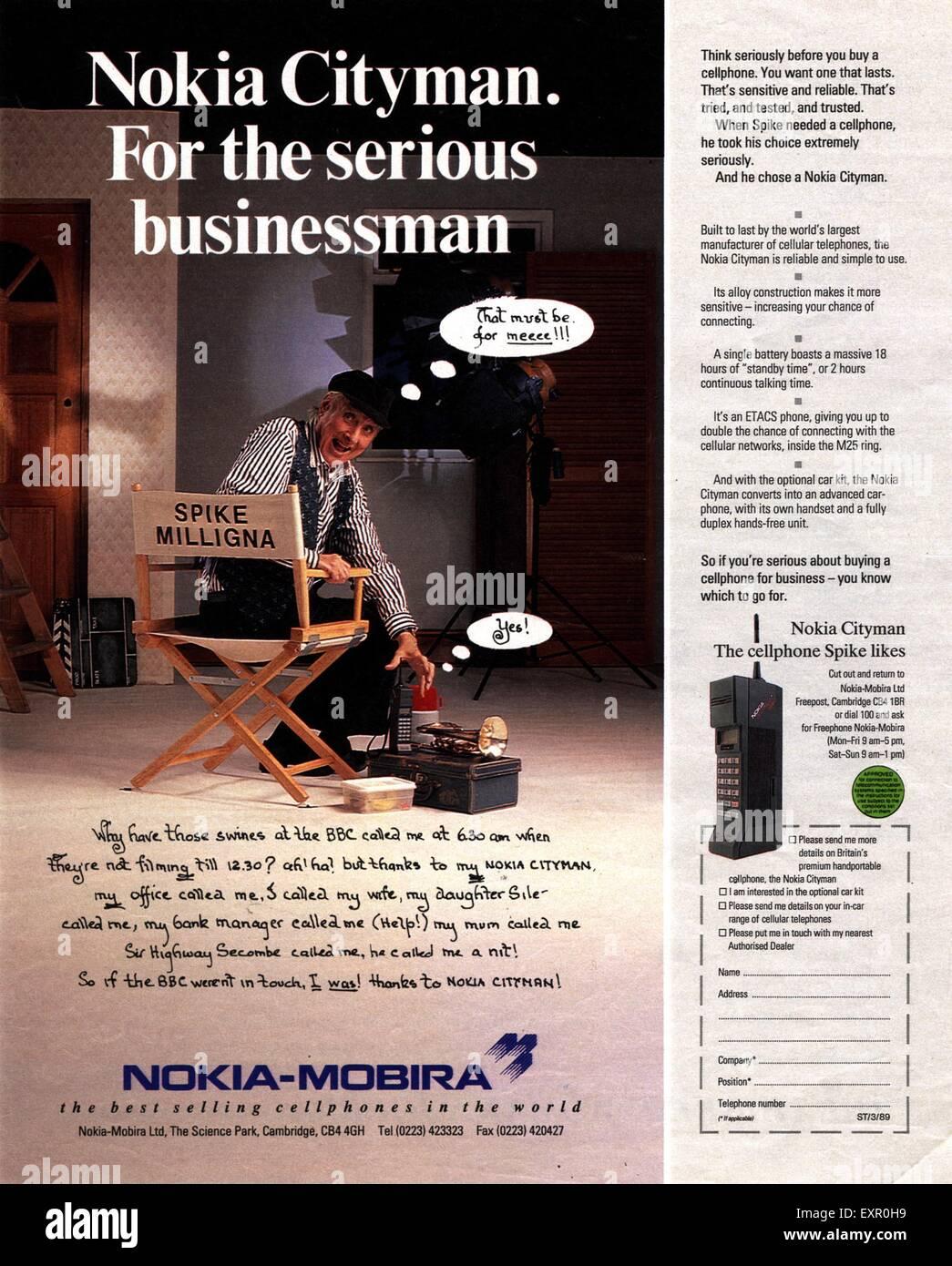 Nokia phones stock photos nokia phones stock images alamy 1980s uk nokia magazine advert stock image biocorpaavc Choice Image