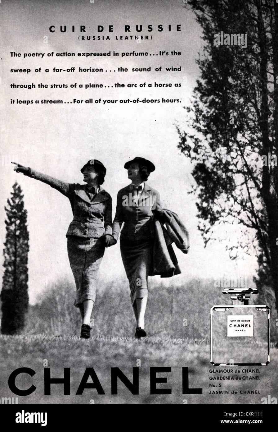 Top 1940s UK Chanel Cuir De Russie Magazine Advert Stock Photo  VA48