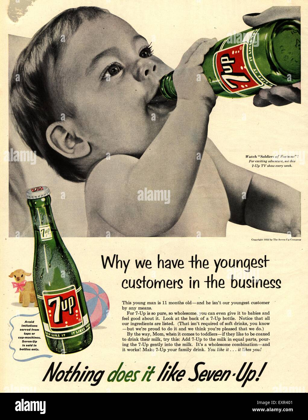 1950s Usa 7up Magazine Advert Stock Photo Royalty Free
