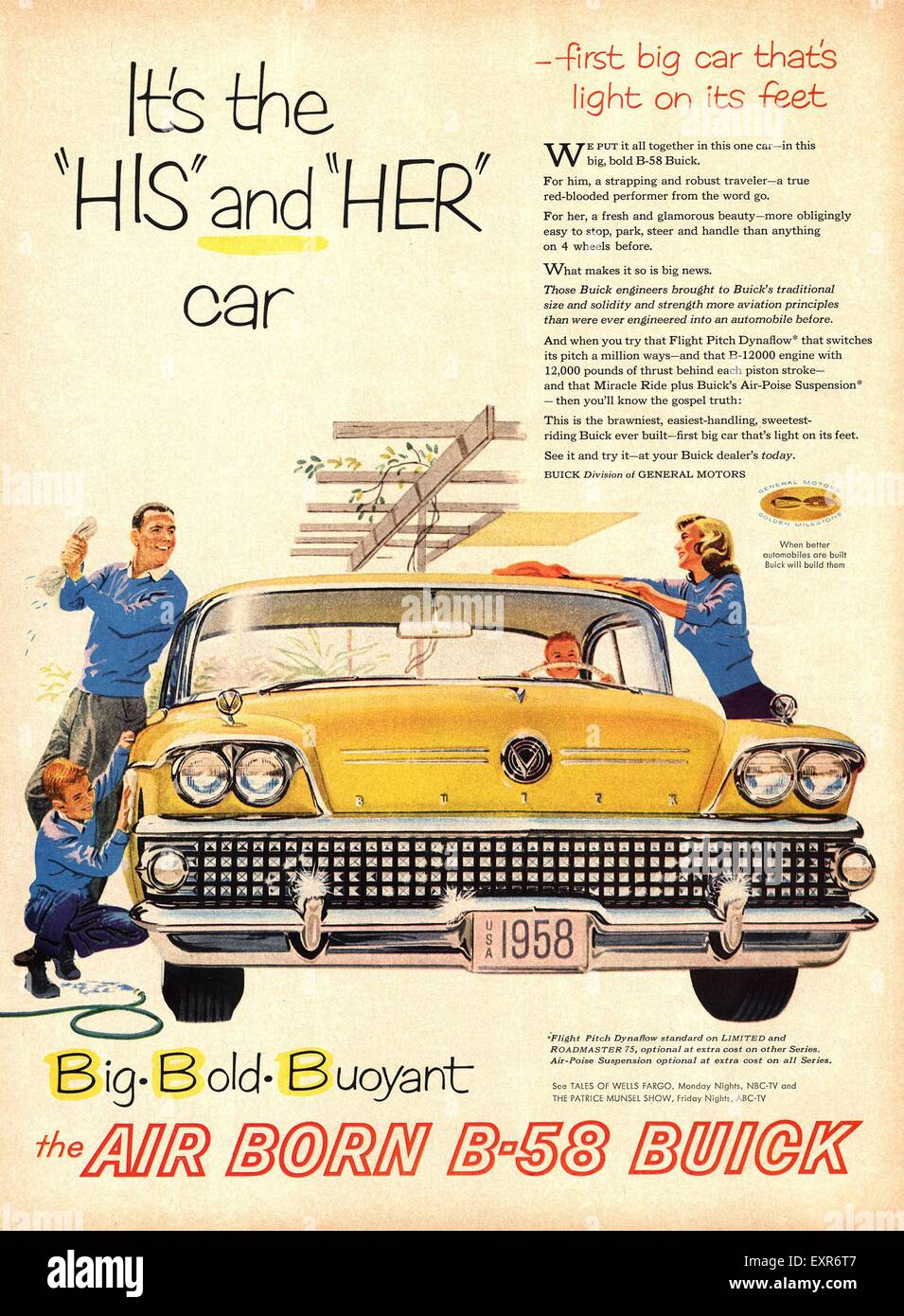 1950s USA Buick Division Of General Motors Magazine Advert Stock ...