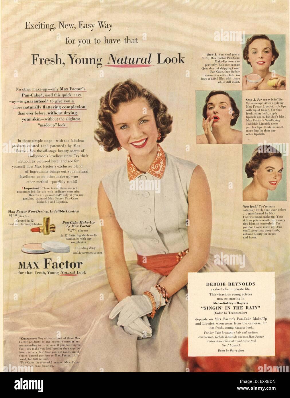 1950s USA Max Factor Magazine Advert Stock Photo, Royalty Free ...