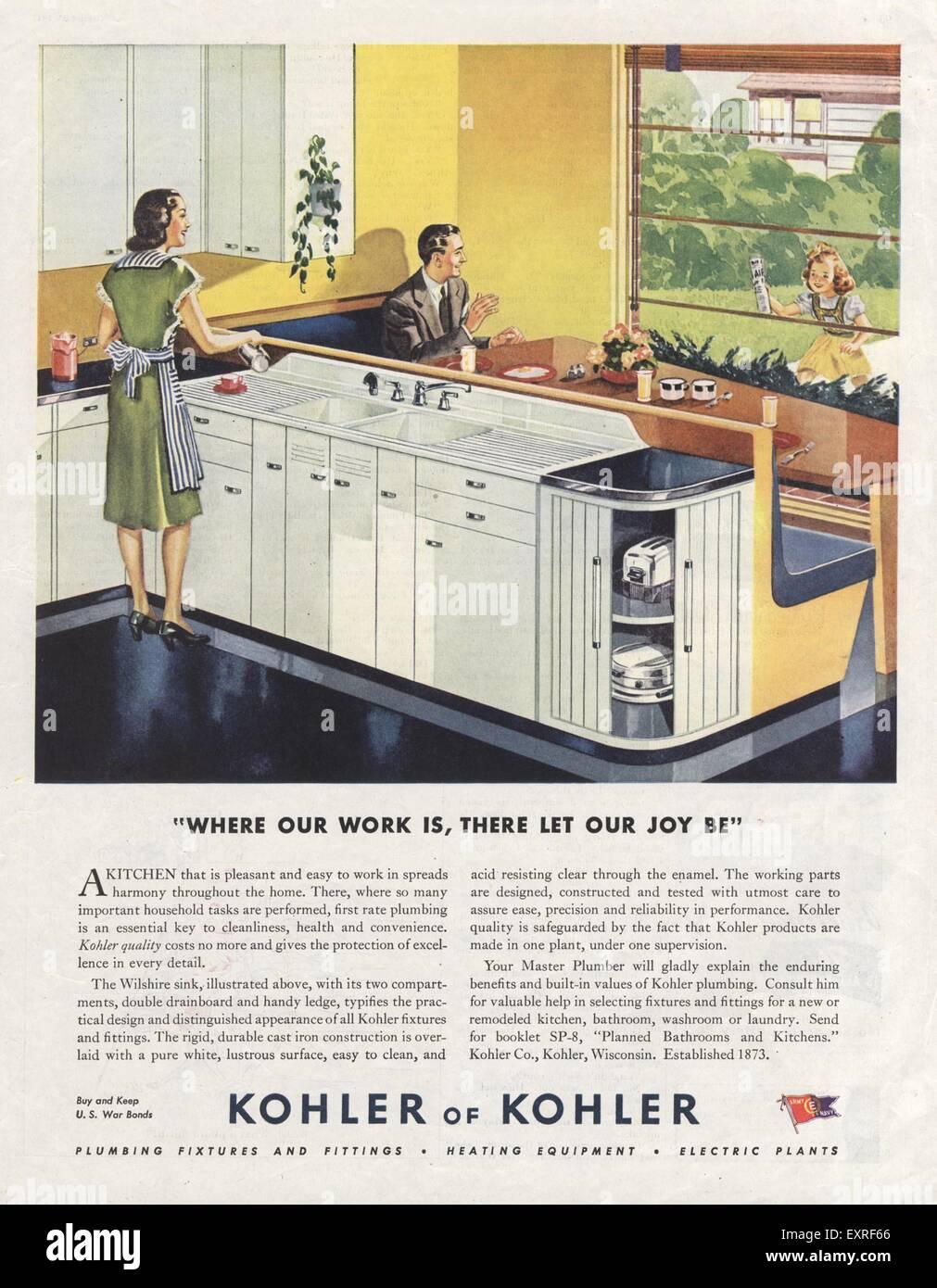 1940s USA Kohler Magazine Advert Stock Photo, Royalty Free Image ...