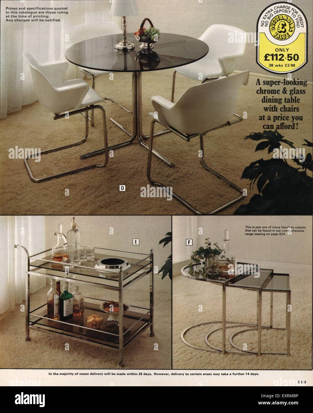1970s UK Tables Catalogue Brochure Plate