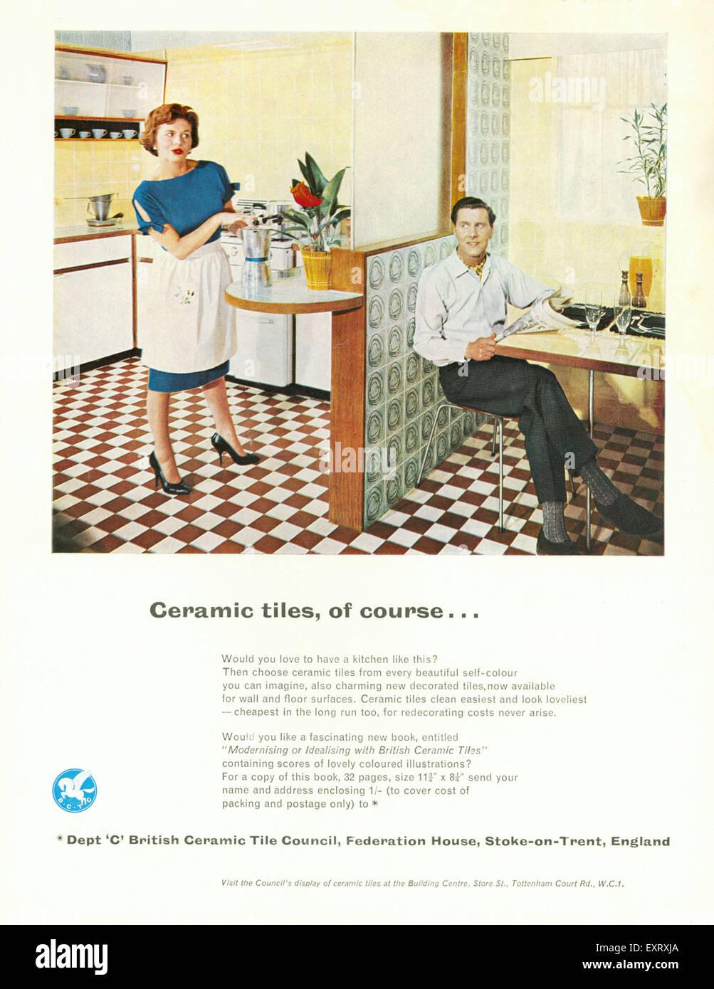 1960s uk kitchens magazine advert stock photos 1960s uk kitchens 1960s uk british ceramic tiles magazine advert stock image dailygadgetfo Choice Image