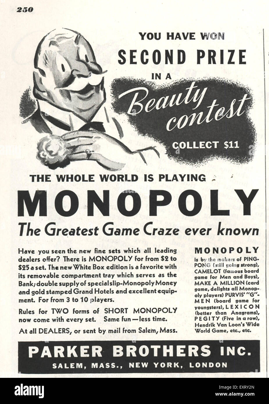 1930s usa monopoly parker brothers magazine advert