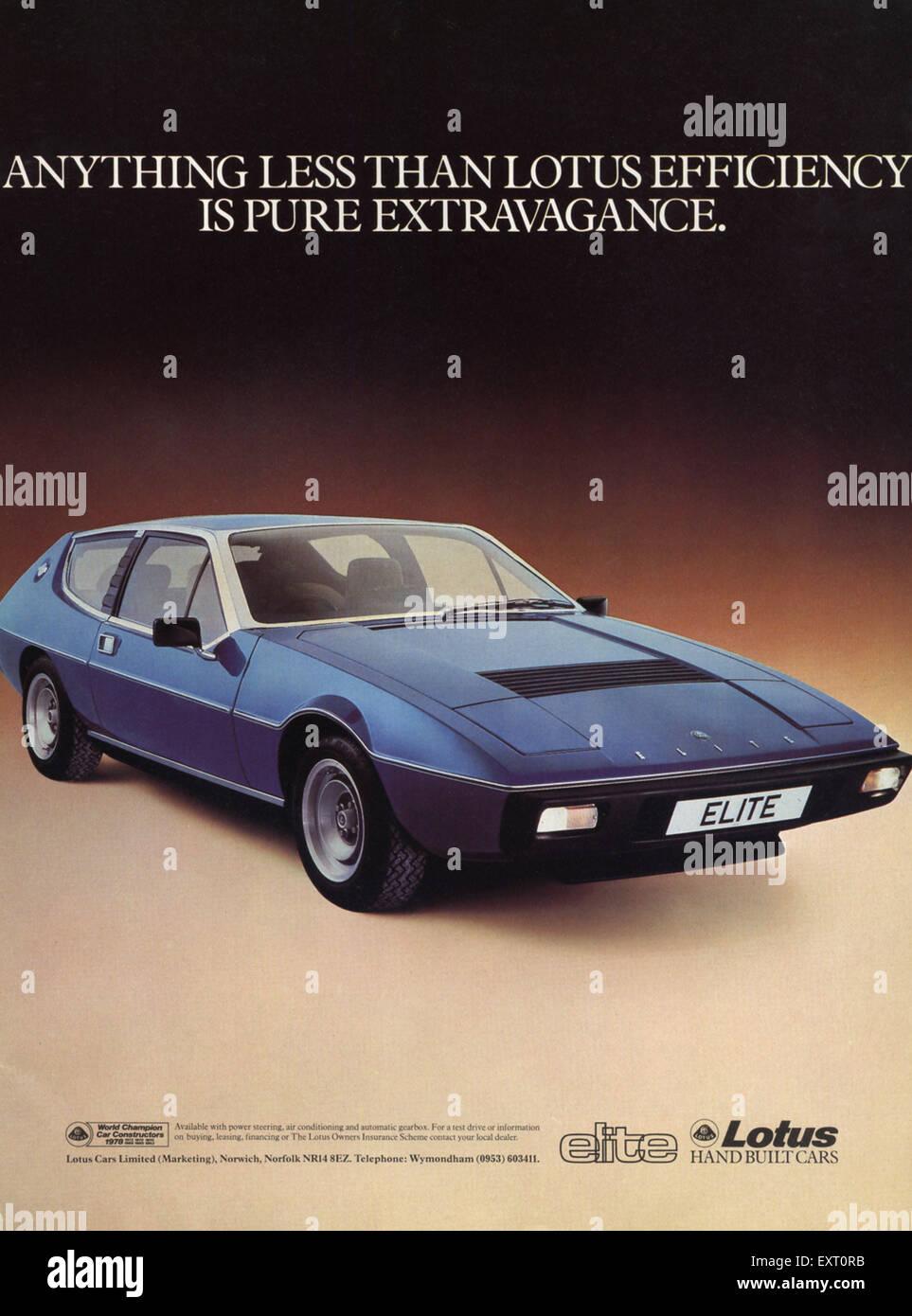 1970s uk lotus elite magazine advert stock image
