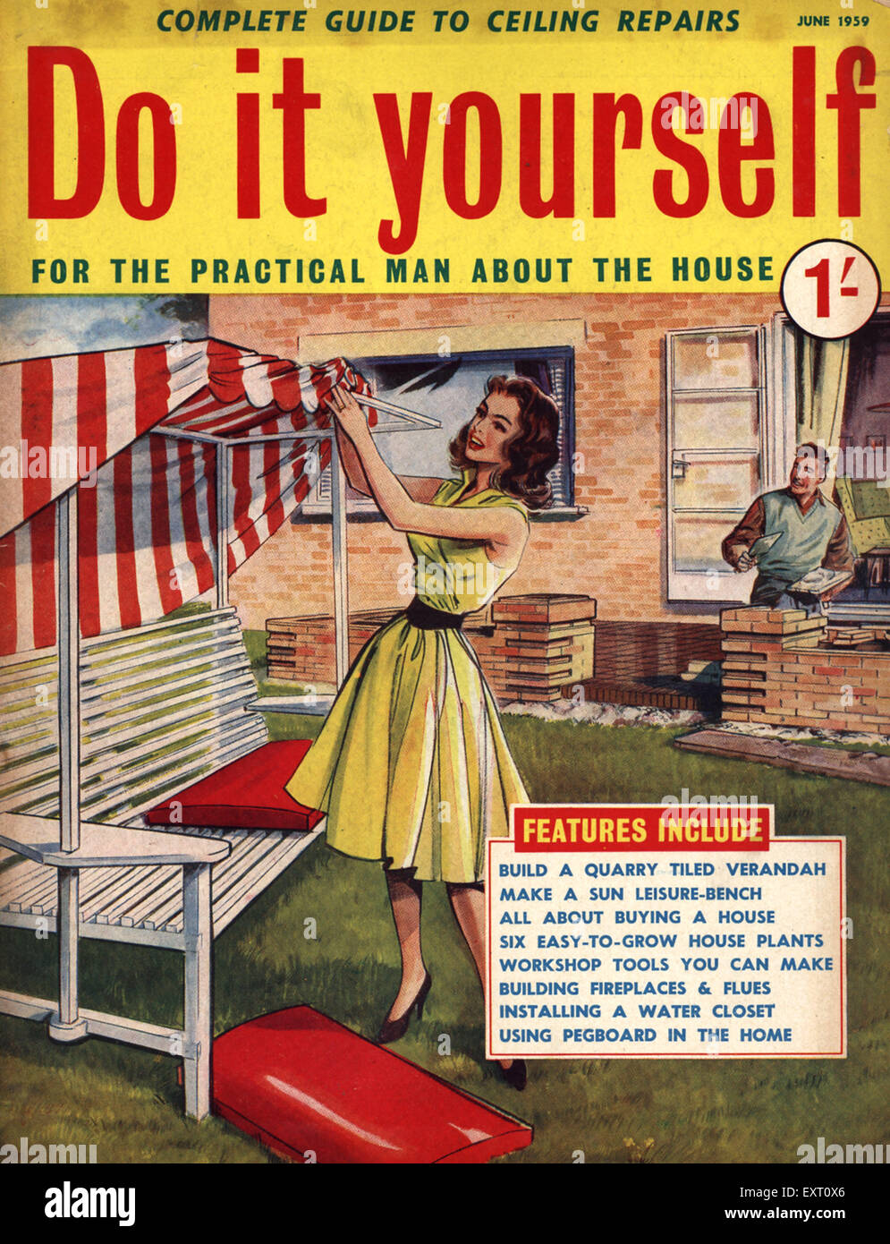 1950s uk do it yourself magazine cover stock photo royalty free image 85350110 alamy. Black Bedroom Furniture Sets. Home Design Ideas