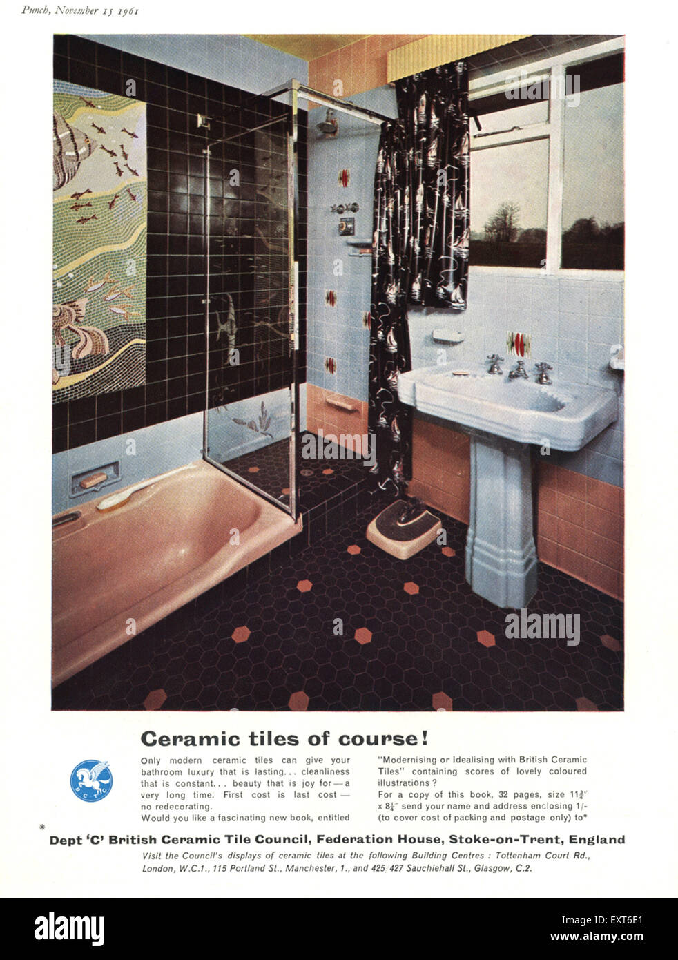 1960s uk british ceramic tile council magazine advert stock photo 1960s uk british ceramic tile council magazine advert dailygadgetfo Choice Image