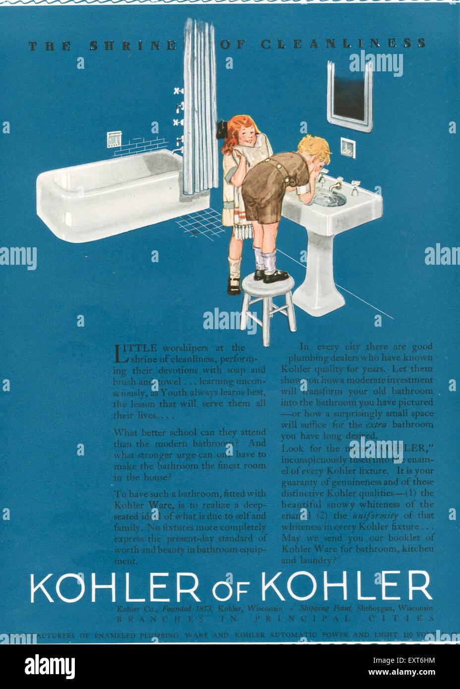 1920s USA Kohler Magazine Advert Stock Photo: 85354576 - Alamy