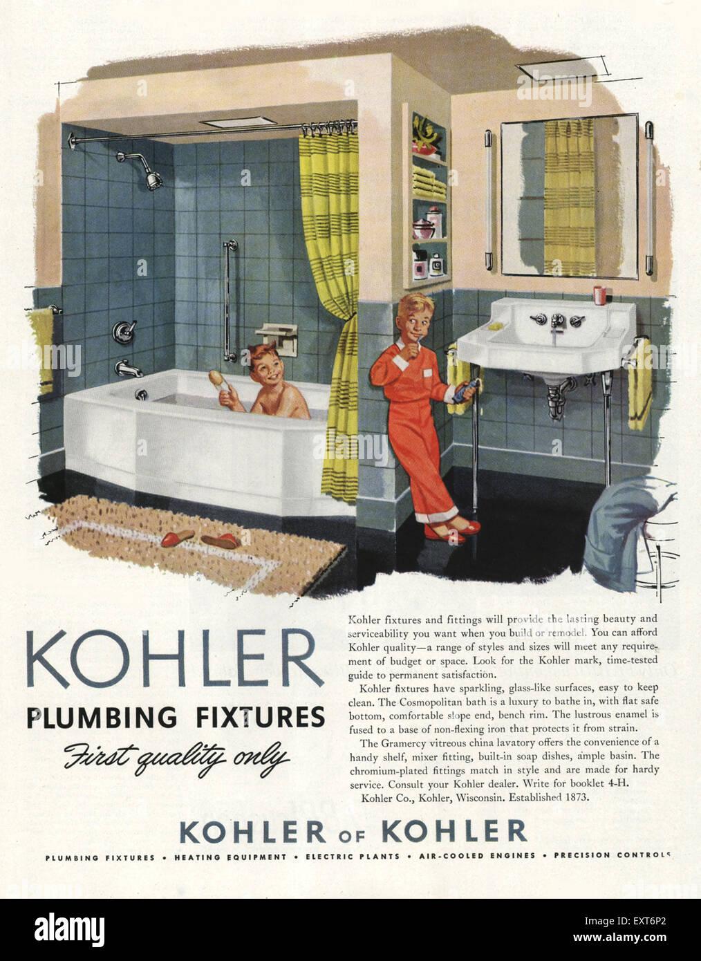1950s USA Kohler Magazine Advert Stock Photo: 85354698 - Alamy