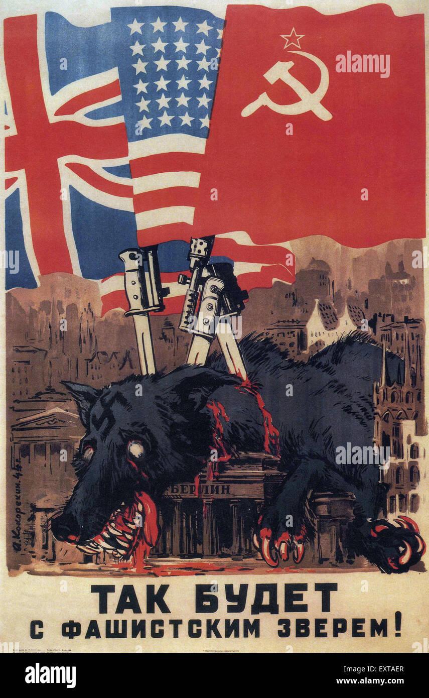 Poster design 1940 - 1940s Russia Russian Propaganda Poster Stock Image