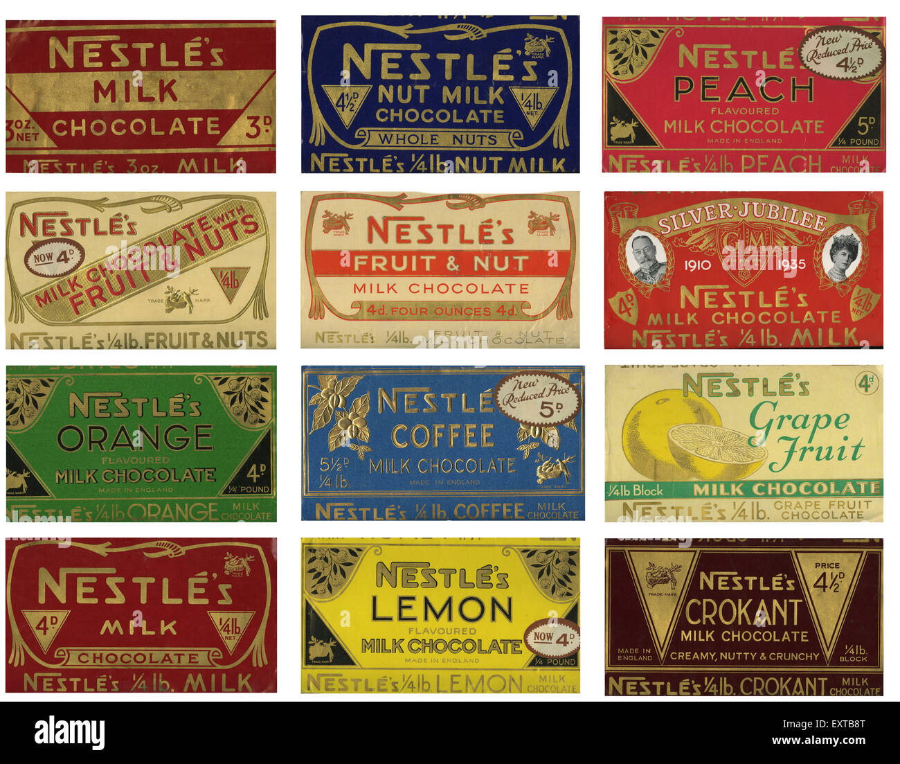 1930s UK Nestles Chocolate Wrappers Packaging Stock Photo, Royalty ...