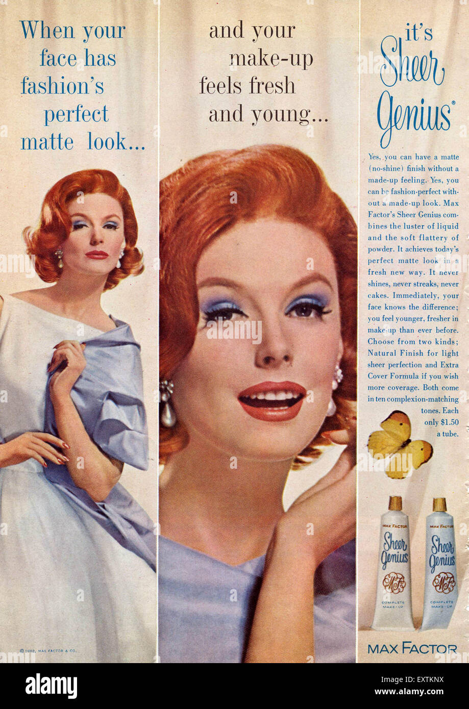 1960s USA Max Factor Magazine Advert Stock Photo, Royalty Free ...