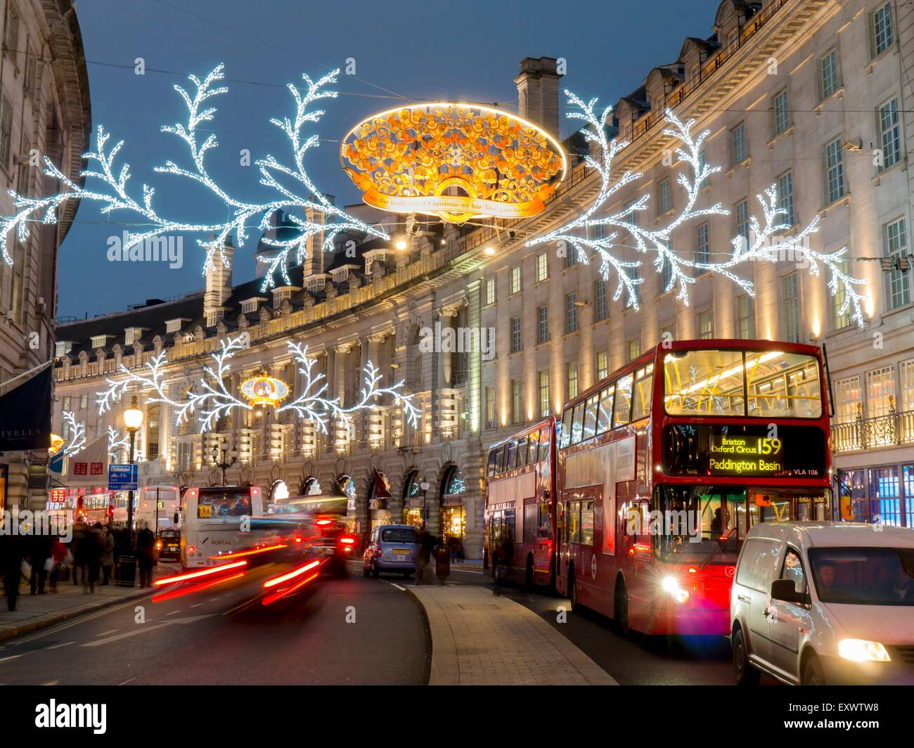 Regent Street At Christmas Time London England Uk Stock