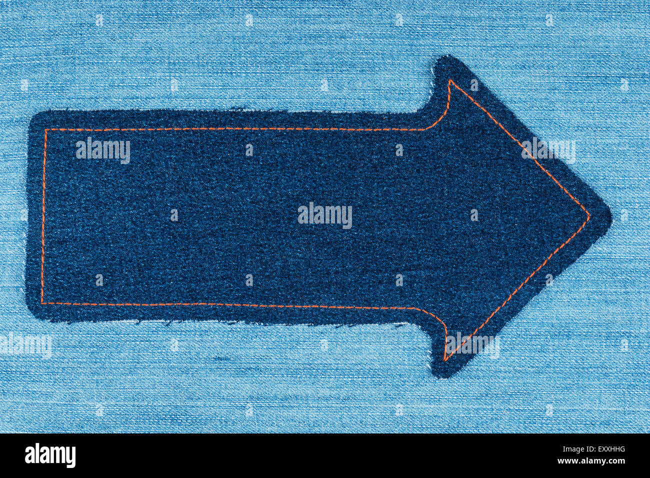 Pointer made of denim fabric with yellow stitching on for Space made of fabric