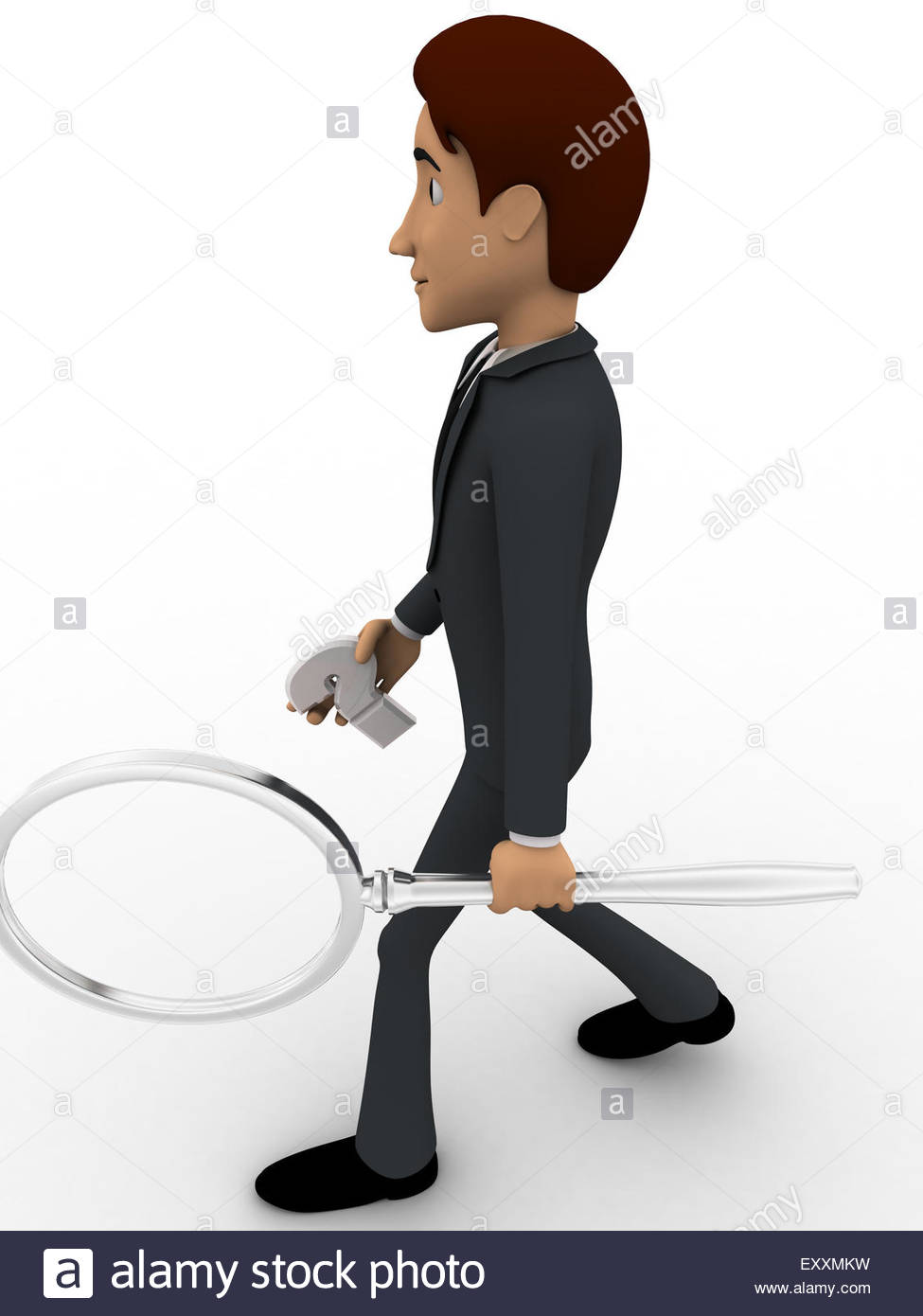 3d person with magnifying glass and question mark stock images image - 3d Man With Question Mark And Magnifying Glass Concept On White Background Side Angle View