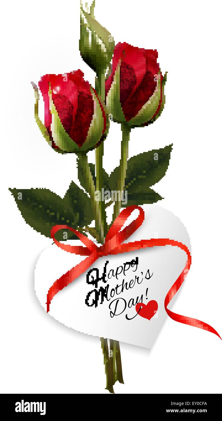 Roses With Happy Mother 39 S Day Gift Card Vector Stock