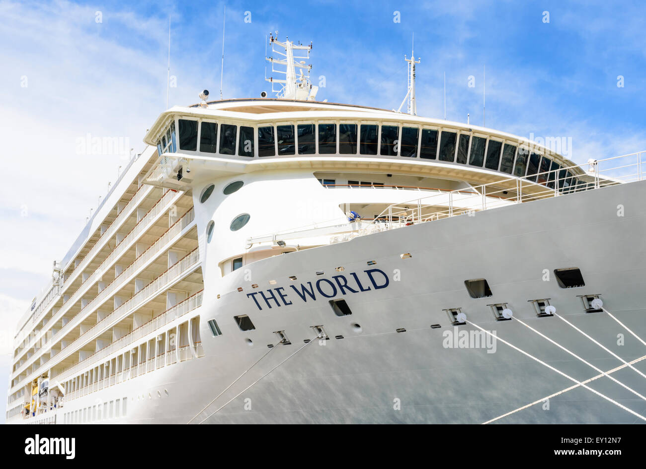 Ms the world a privately owned cruise ship anchored in for Around the world cruise ship