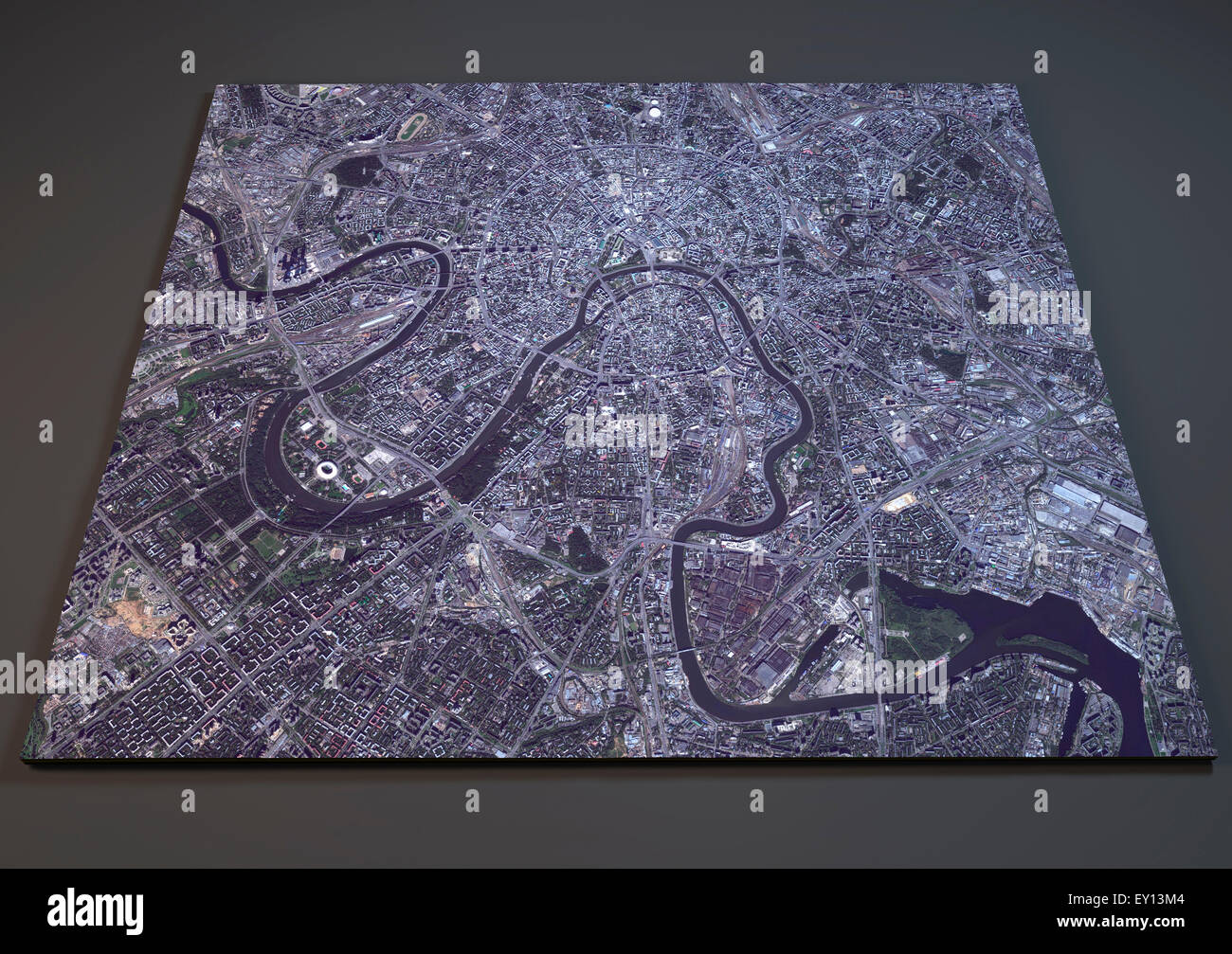 Satellite view of Moscow map Russia Stock Photo Royalty Free