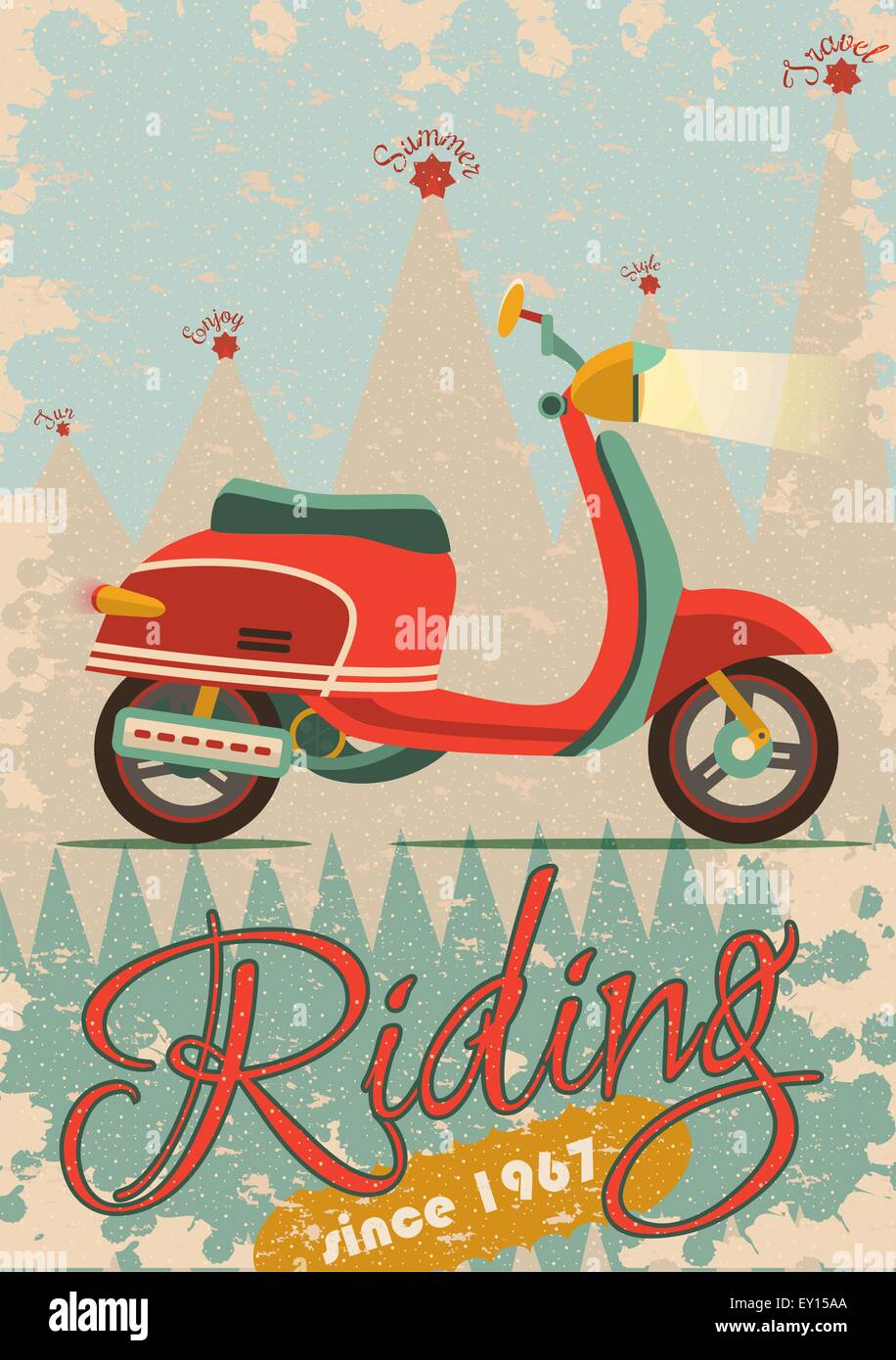 Poster design sample - Retro Poster Design With Vintage Scooter Illustration Sample Text Banner And Grunge Texture