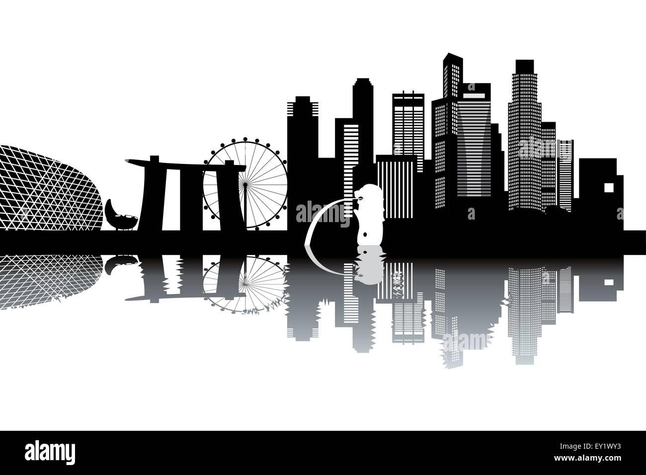 Singapore Skyline Black And White Vector Illustration