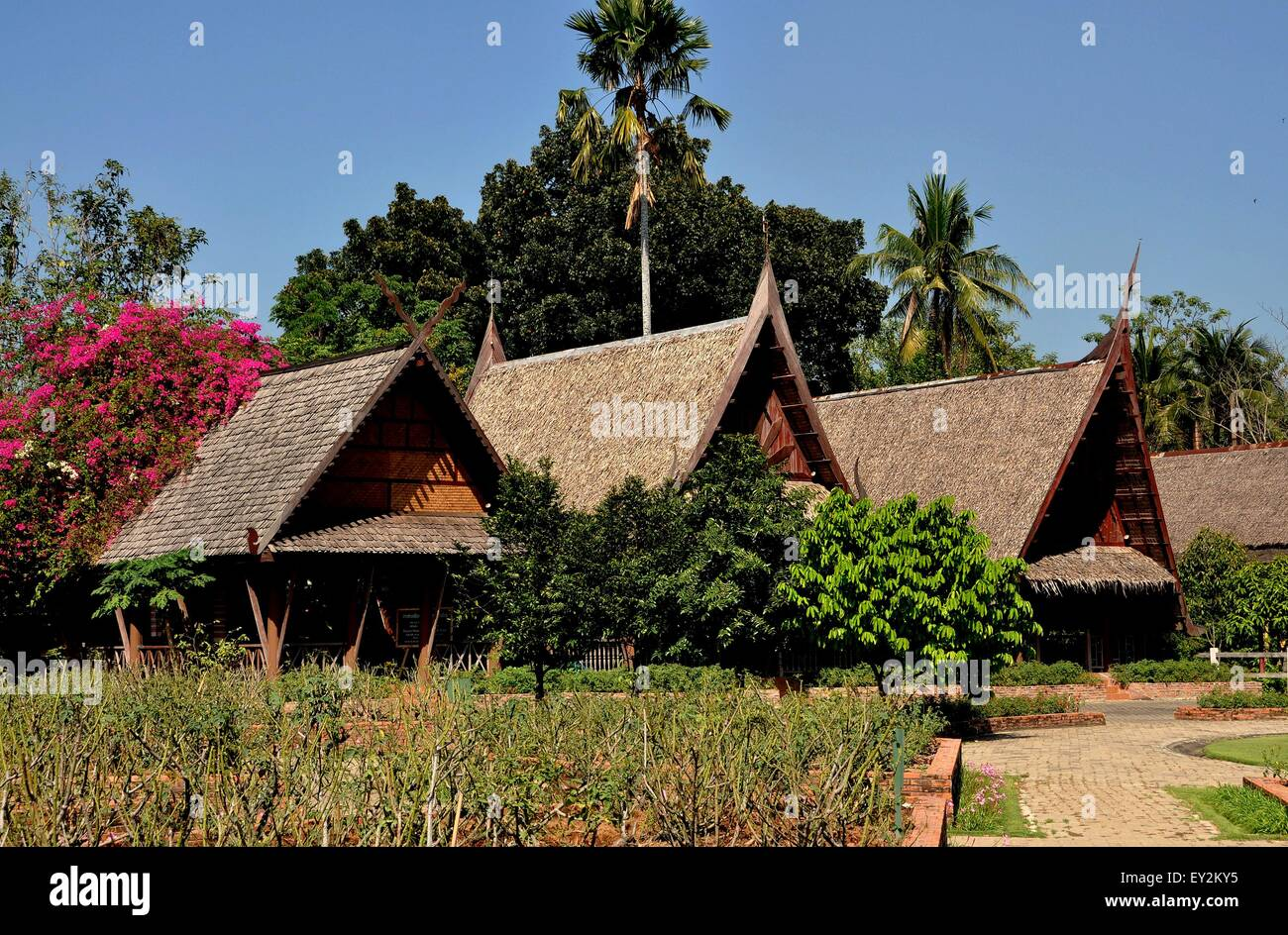 Sampan thailand a row of traditional thatched roof wooden thai stock photo royalty free image - Traditional houses attic ...
