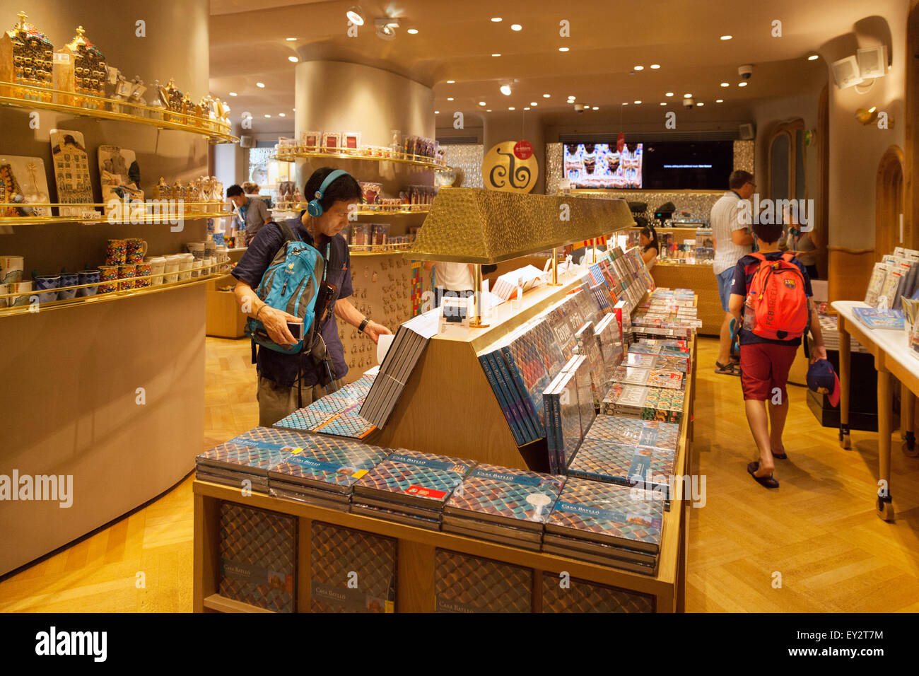 tourists shopping in the gift shop casa batllo designed by gaudi stock photo royalty free. Black Bedroom Furniture Sets. Home Design Ideas