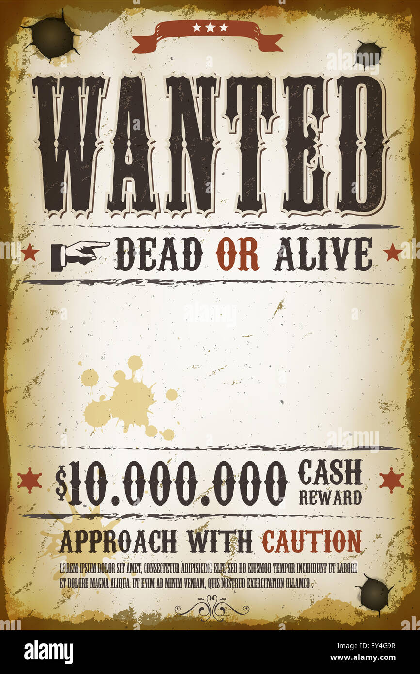 Wanted Poster Template With Bounty Reward Stock Photo Royalty Illustration  Of A Vintage Old Wanted Placard  Old Fashioned Wanted Poster