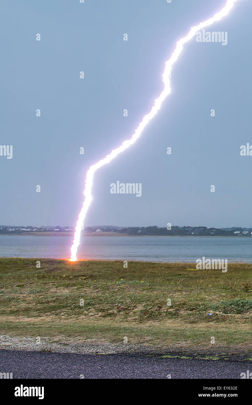 Lightning strike on the shore in summer - Brittany France impact of lightning strikes sand dunes 50 meters of the photographer & Lightning strike on the shore in summer - Brittany France impact ... azcodes.com