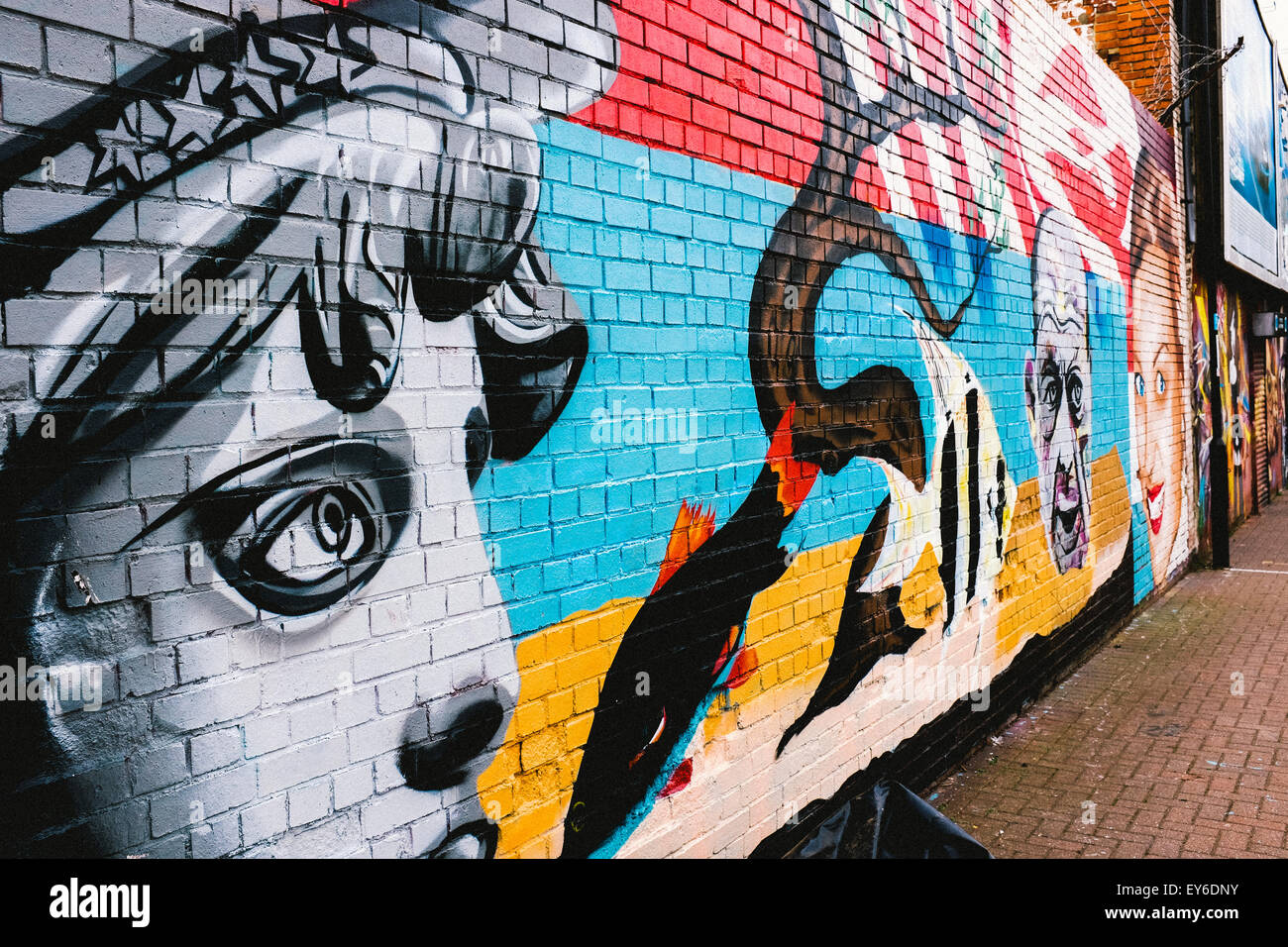 Graffiti wall uk - Graffiti Art On A Wall In Sunderland Uk Depicts The Right Eye And Part Of