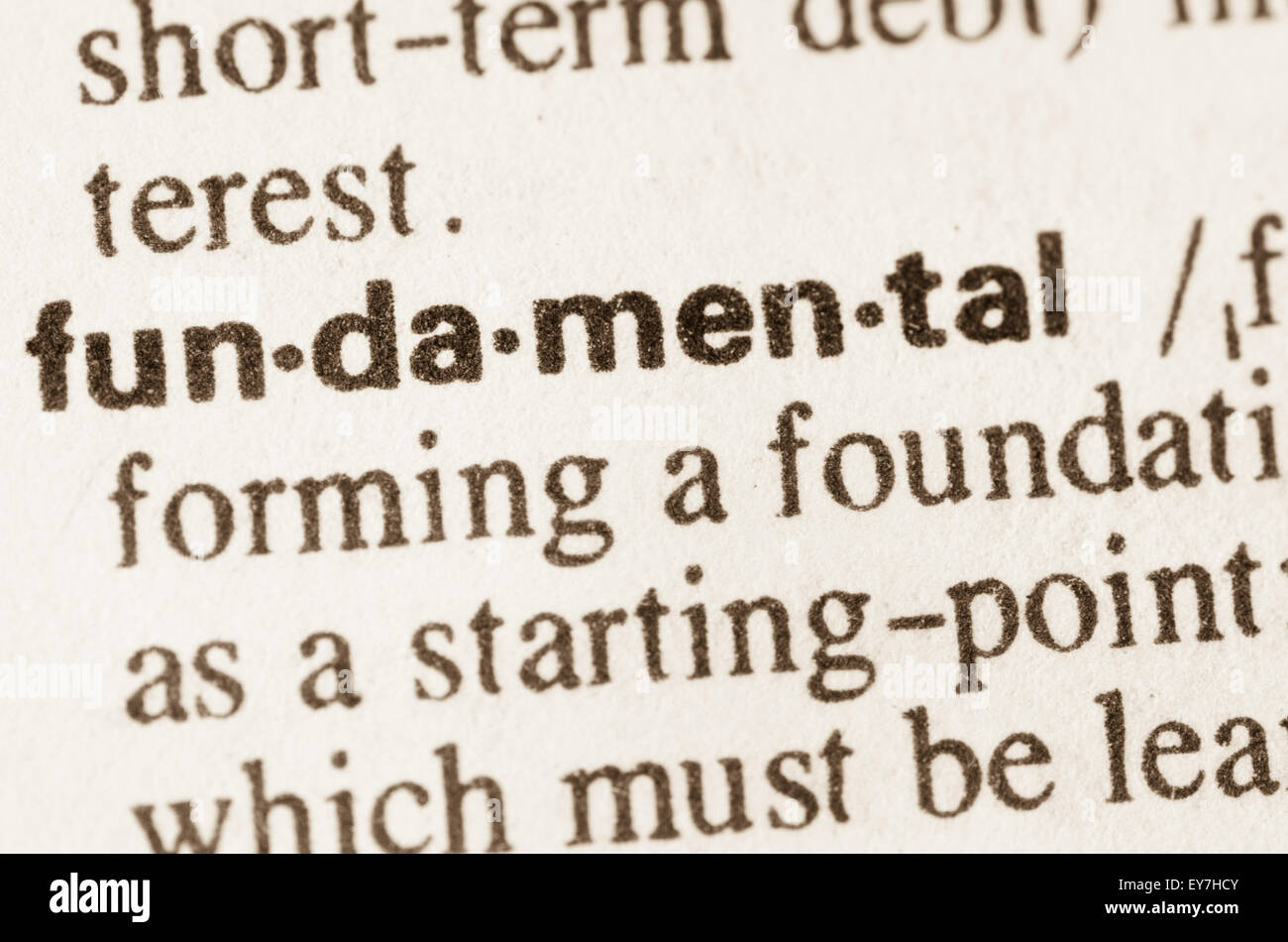 Definition of word fundamental in dictionary Stock Photo ...