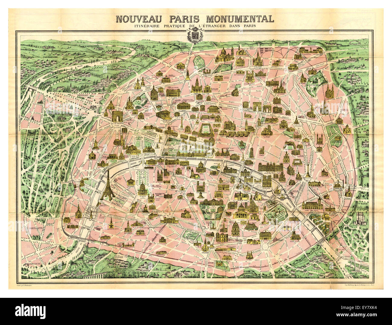 S Historic Old Map Of Important Monuments And Buildings In - Paris map monuments