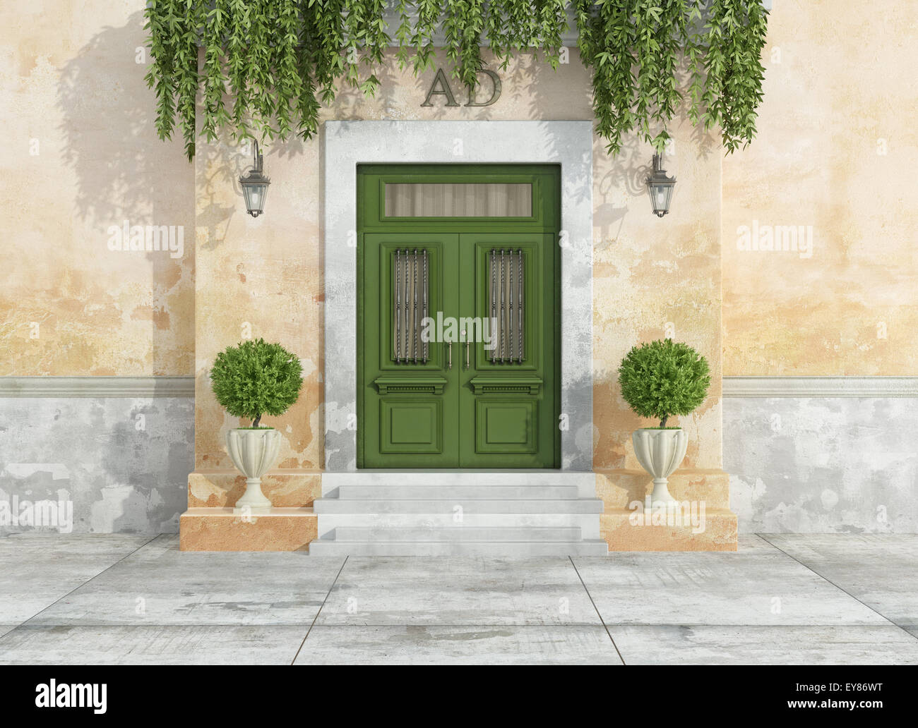 Entrance of a country house with green classic front door - 3D Rendering & Entrance of a country house with green classic front door - 3D ... Pezcame.Com