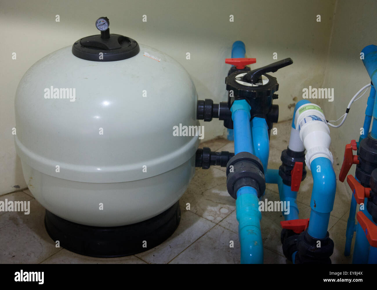 A Saltwater Swimming Pool Turbo Cell Chlorinator And Filter Thailand Stock Photo Royalty Free
