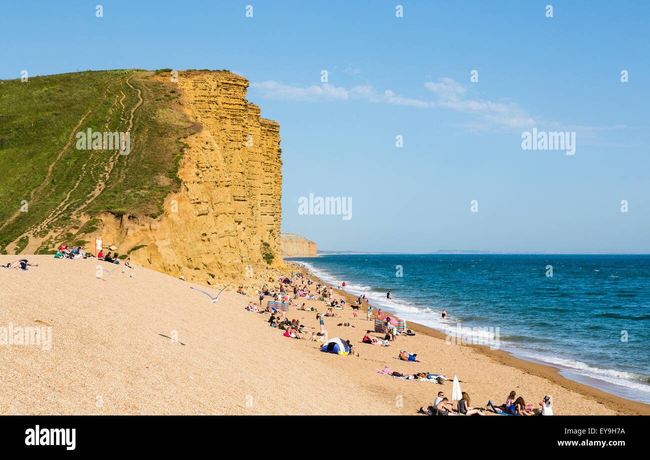 Sandy Beach And Tall Golden Yellow Cliffs At West Bay On The Jurassic Coast Dorset South West England In Summer