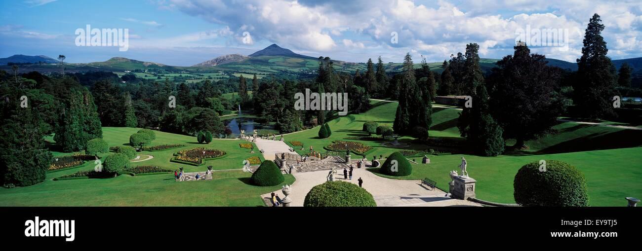 High Angle View Of A Garden, Powerscourt Gardens, County Wicklow ...