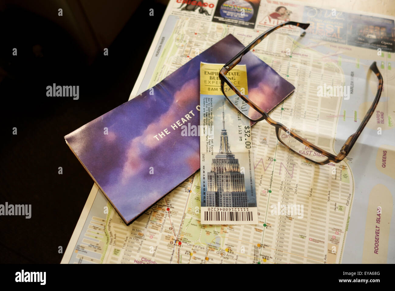 Entry Ticket Empire State Building Flyer And Map Of Manhattan And - Nyc map empire state building