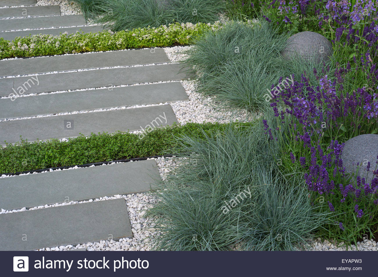 Contemporary grey stone and white gravel garden path for Grey stones for landscaping