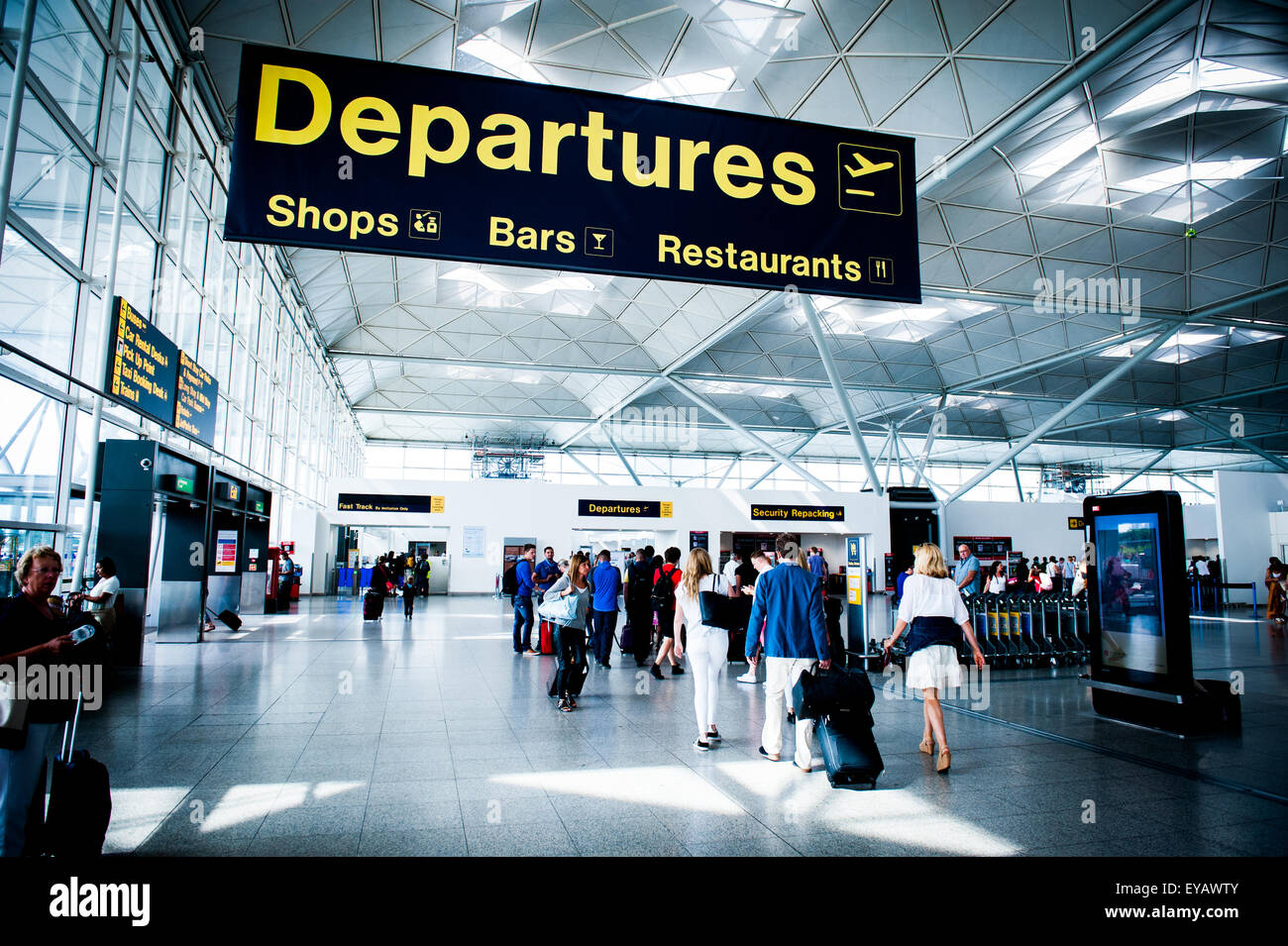 Uk Basketball: Departure Area At London Stansted Airport, UK Stock Photo