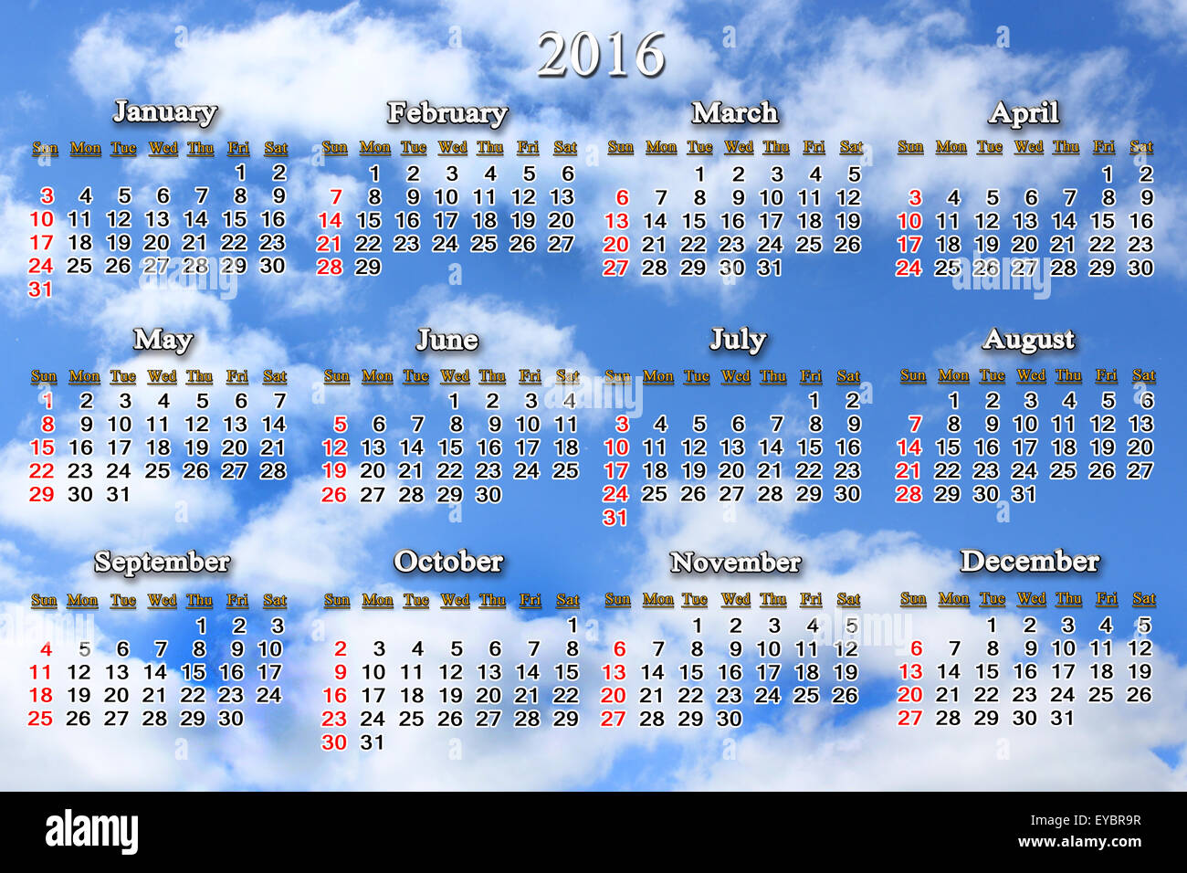 office calendar for 2016 on the background of blue sky Stock Photo ...