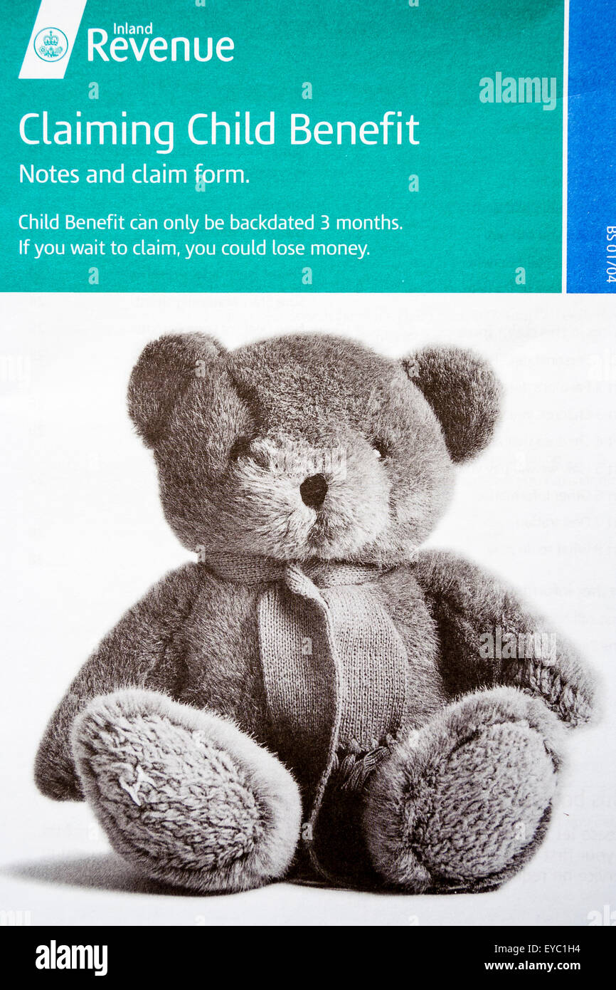 Child Benefit Form Dwp British state benefit, Child benefit claim form booklet from DWP Stock Photo